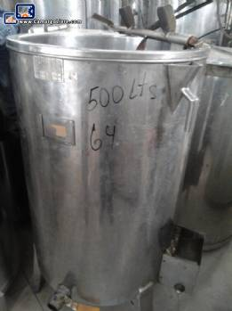 Stainless steel storage tank with stirrer for 500 L
